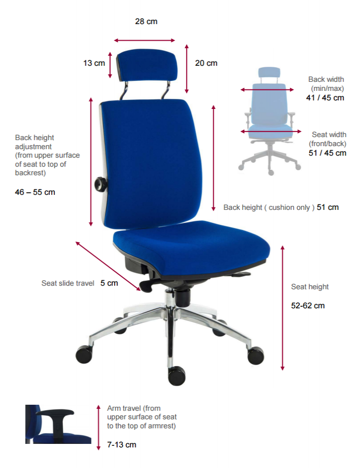 Office Chair Seat Height 23 Botron Blue Gray Esd Fabric