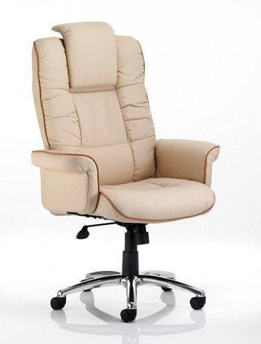 Chelsea Leather Faced Executive Chair in Cream