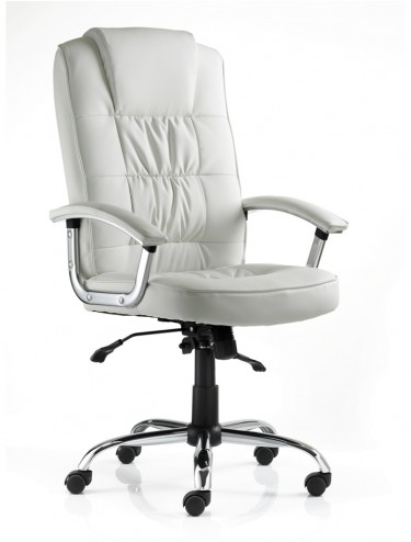 Moore Deluxe Executive White Leather Chair