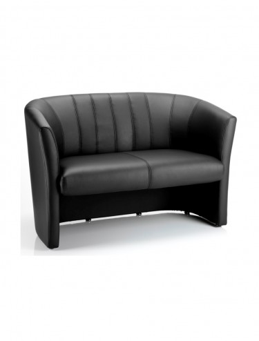 Neo Leather Reception Twin Tub Chair in Black