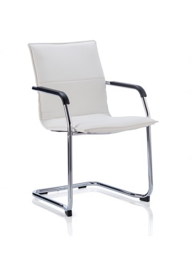 Echo Cantilever White Leather Visitors Chair ECHOW