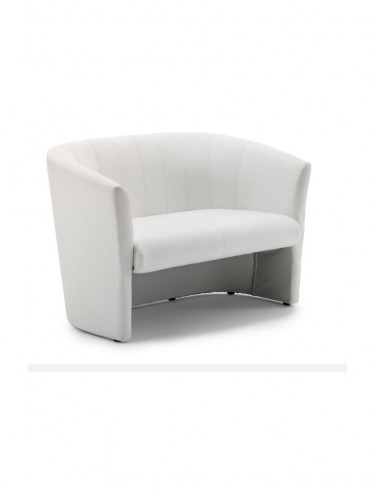 Neo Leather Reception Twin Tub Chair in White