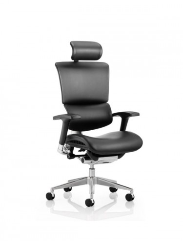 Ergo-Dynamic Leather Office Chair with Headrest EO01BFBLTHR