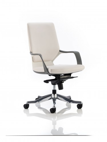 Dynamic xenon white leather executive chair with white for Desk chair white leather