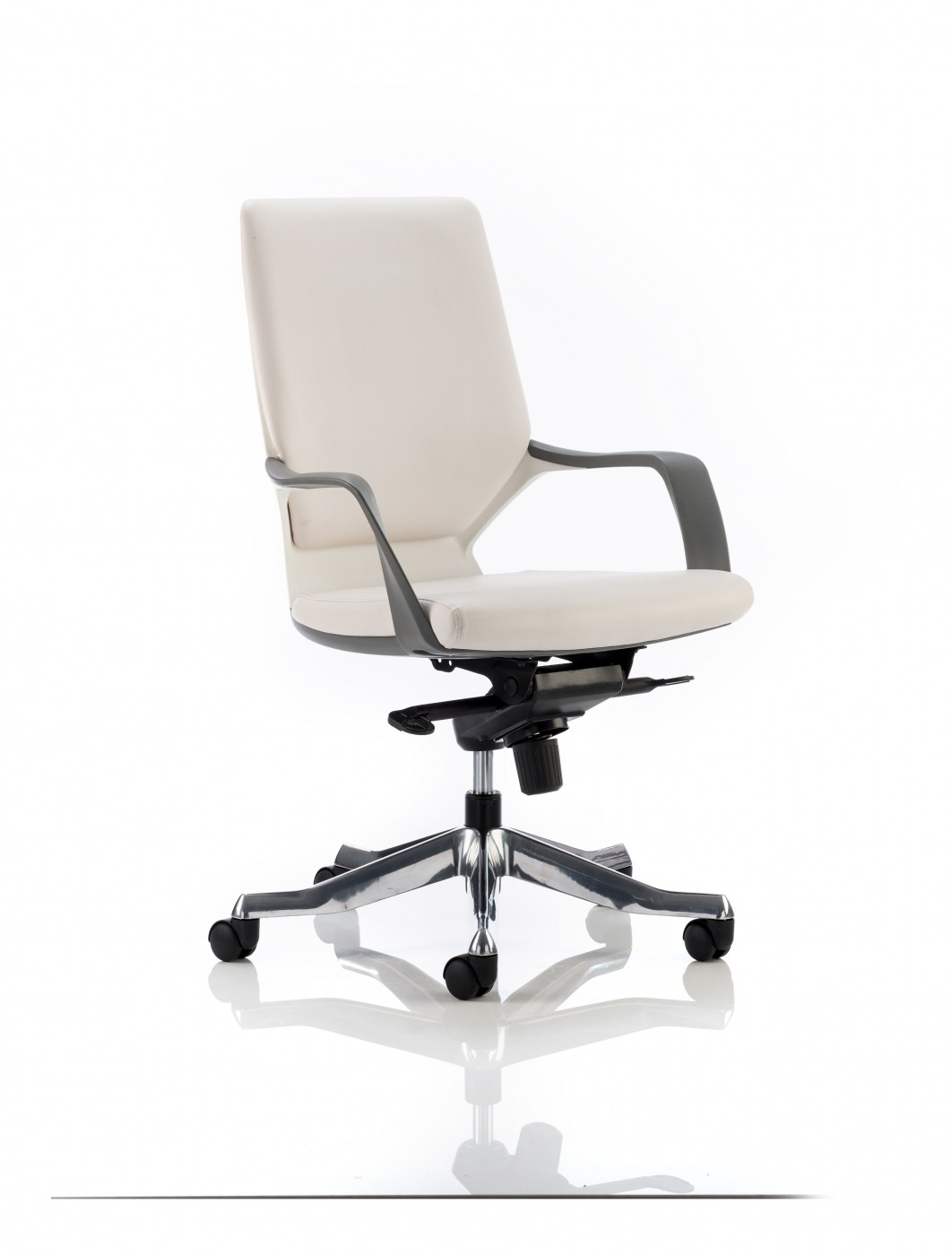office chair white leather. Dynamic Xenon Medium Executive White Leather Office Chair - Enlarged View O