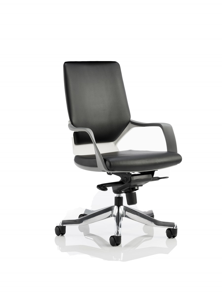 Medium back office chair - Dynamic Xenon Medium Back Executive Black Leather Office Chair W White Shell Enlarged View