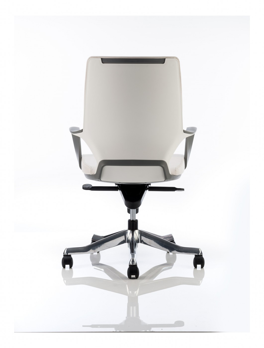 Dynamic Xenon Medium Back Executive White Leather Office Chair W Shell