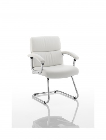 Dynamic Desire Leather Cantilever Visitors Chair in White