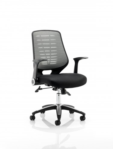 Office Chairs - Relay Silver Mesh Office Chair w/ Airmesh Seat Pad