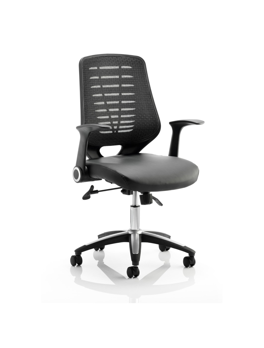 mesh back office chair w leather seat and black back 121 office