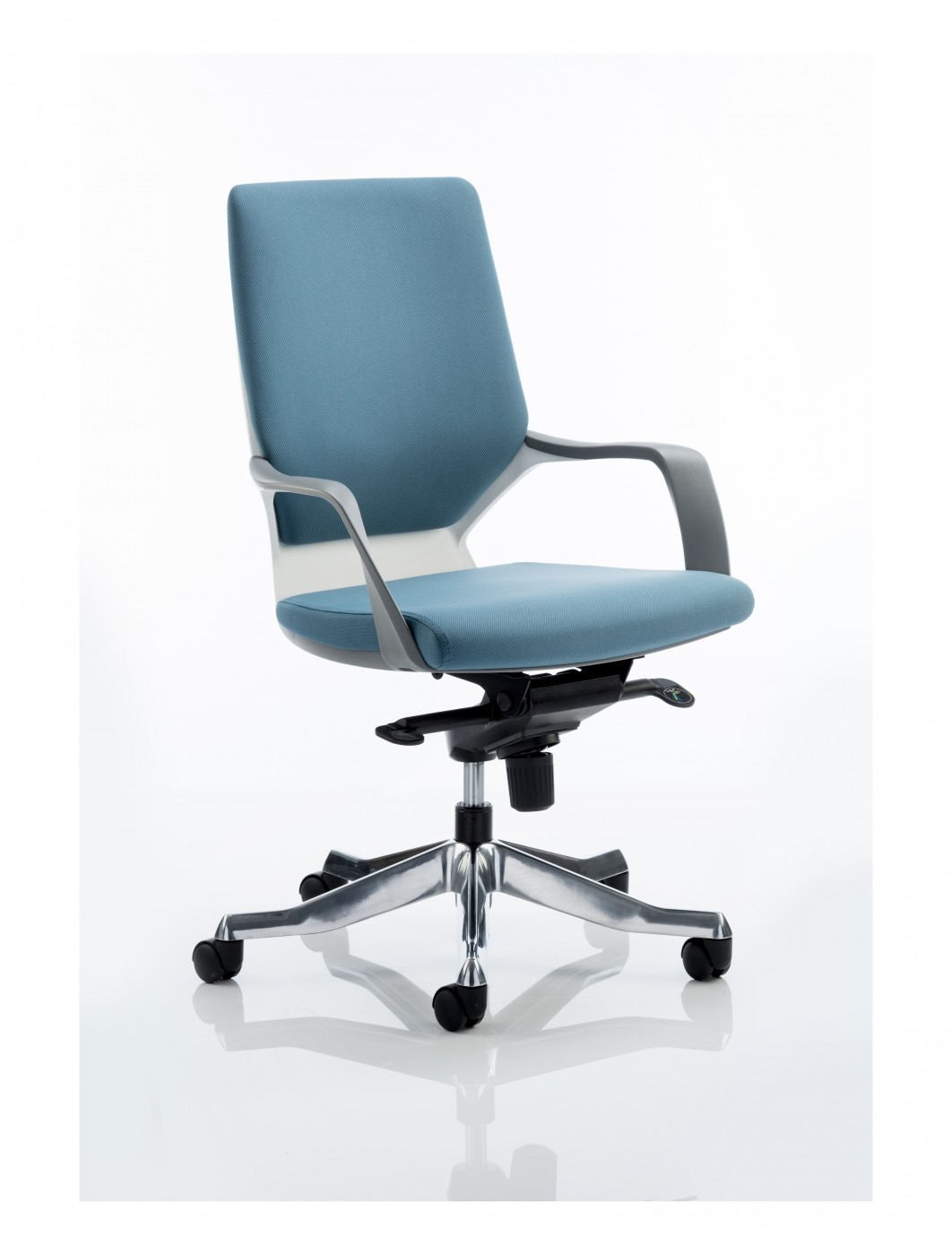 Dynamic xenon blue fabric executive chair with white shell for Blue office chair