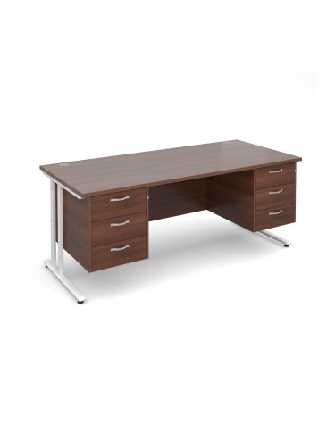 Teviot 1800mm Straight Desk TEV18P33WHW with 2x 3 Drawer Pedestals
