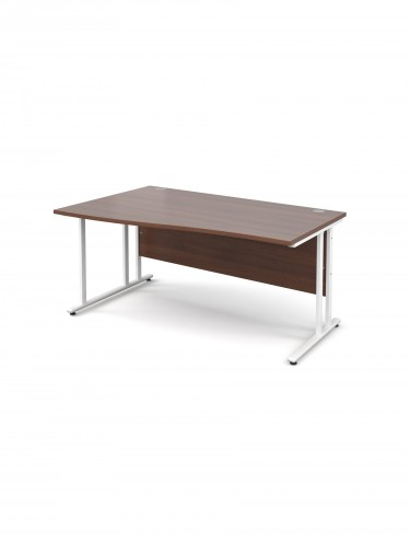 Teviot 1600mm Left Hand Wave Office Desks TEVWHWL16W