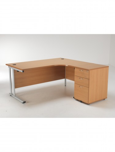 Right Hand Crescent desk and Desk High Pedestal Offer LITE1612BEBUNDR