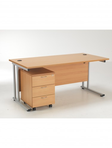 Lite 1200mm Office Desk with 3 Drawer Mobile Pedestal LITE1280BUND3BE