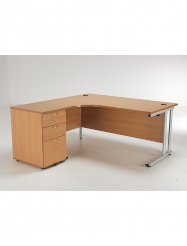 Left Hand Crescent Desk and Desk High Pedestal Offer LITE1612BEBUNDL