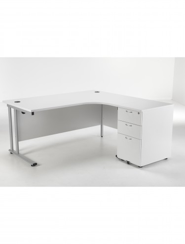 Right Hand Crescent desk and Desk High Pedestal Offer LITE1612WHBUNDR