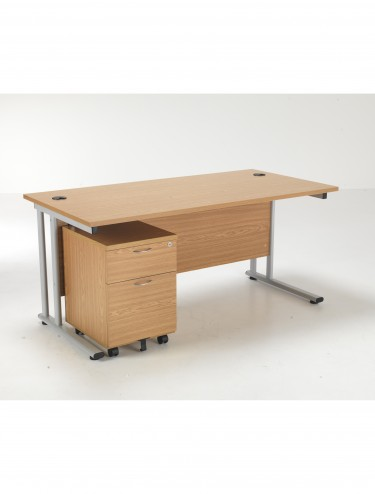Lite 1400mm Office Desk with 2 Drawer Mobile Pedestal LITE1480BUND2OK