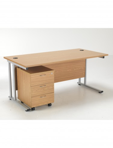 Lite 1600mm Office Desk with 3 Drawer Mobile Pedestal LITE1680BUND3OK