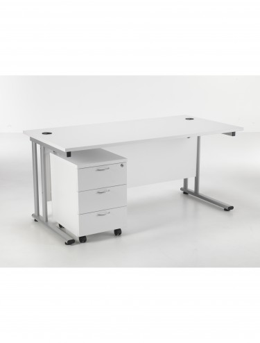 Lite 1600mm Office Desk with 3 Drawer Mobile Pedestal TWU1680BUNWHSV3