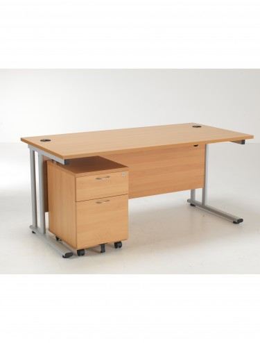 Lite 1400mm Office Desk with 2 Drawer Mobile Pedestal LITE1480BUND2BE