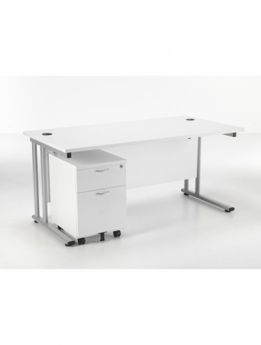 Lite 1600mm Office Desk with 2 Drawer Mobile Pedestal LITE1680BUND2WH