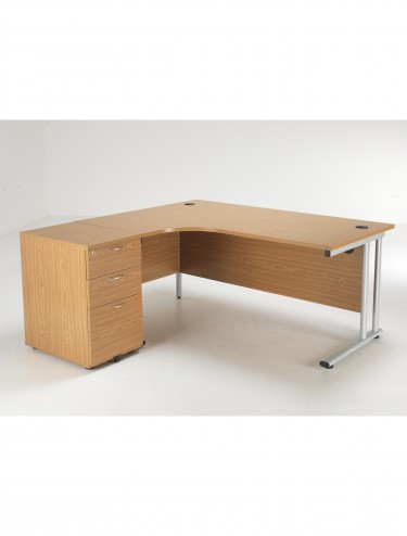 Left Hand Crescent Desk and Desk High Pedestal Offer LITE1612OKBUNDL