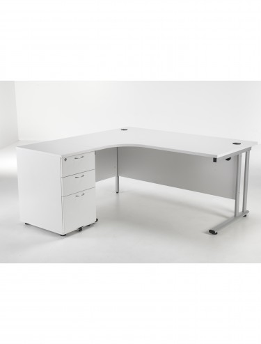 Left Hand Crescent Desk and Desk High Pedestal Offer LITE1612WHBUNDL