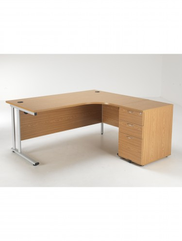 Right Hand Crescent desk and Desk High Pedestal Offer LITE1612OKBUNDR