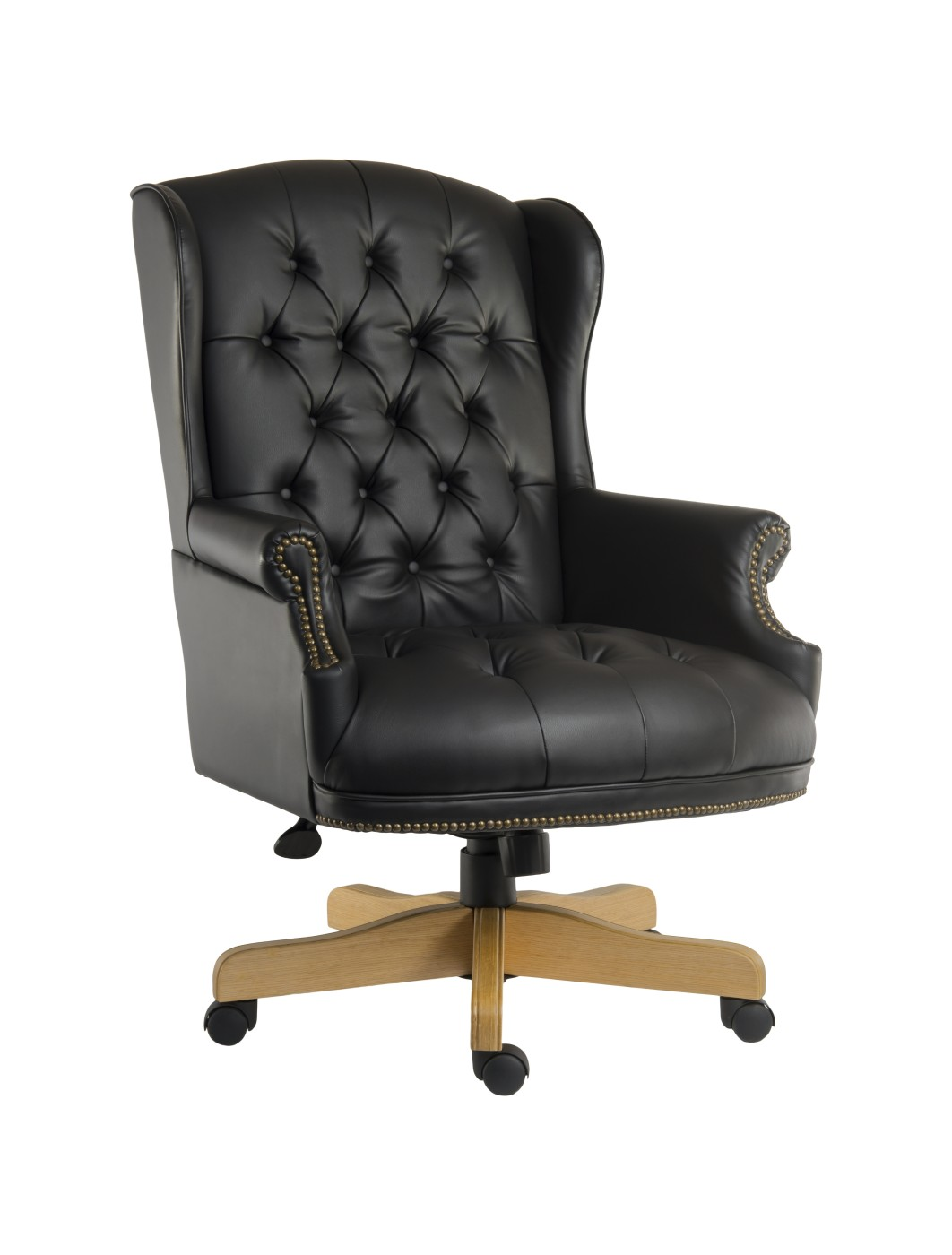 office leather chair. Teknik Chairman Noir Executive Leather Chair B6927 - Enlarged View Office