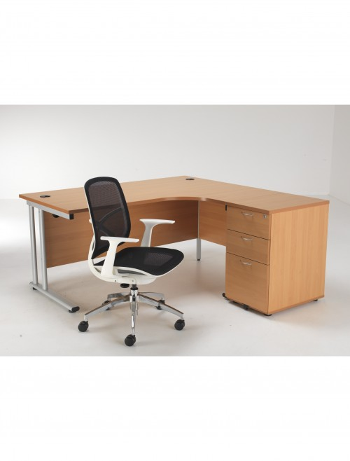Right Hand Ergonomic Desk, Pedestal and Zico Mesh Chair Bundle ETCBUND16RBE