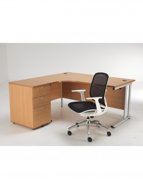 Left Hand Ergonomic Desk, Pedestal and Zico Mesh Chair Bundle ETCBUND16LBE