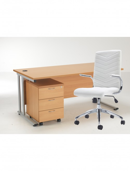 Lite 1600mm Desk, Mobile Pedestal and Baresi Office Chair Bundle