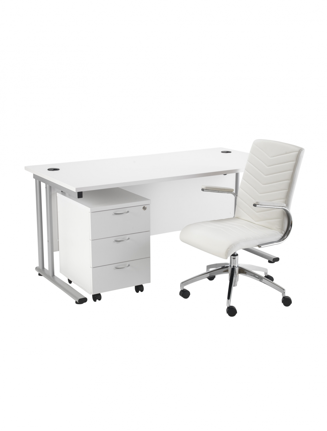 Lite 1600mm office desk 3 drawer mobile pedestal and baresi executive chair bundle special