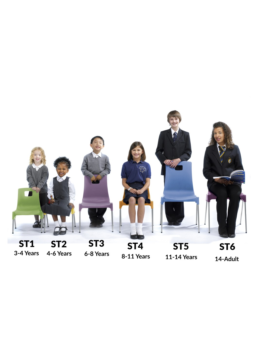 Metalliform ST Chairs - Age 6-8 Years Polypropylene Classroom Chairs ST3