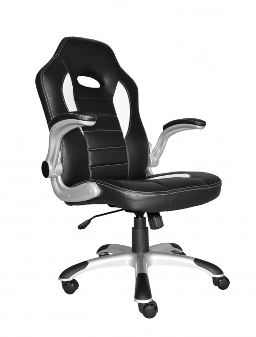 Talladega Black and White Racing Style Office Chair AOC8211WHI