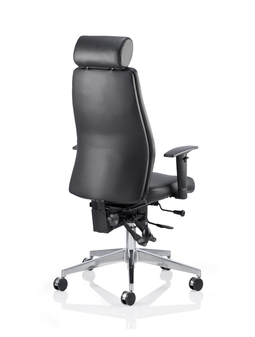 Dynamic Onyx Leather Office Chair With Headrest