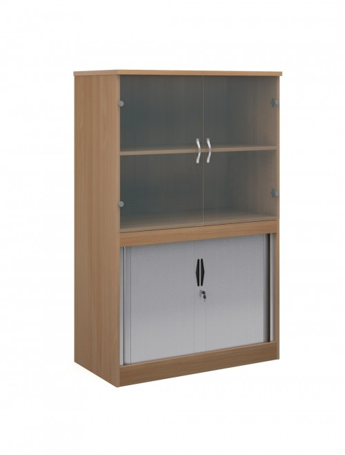 1600mm High System Combination Bookcase TG16 with Glass Top Doors