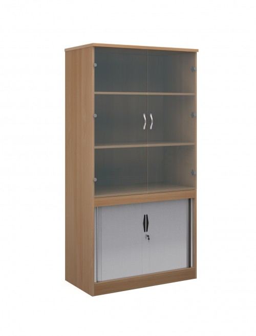 2000mm High System Combination Bookcase TG20 with Glass Top Doors