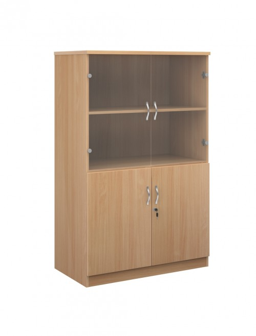 1600mm High Deluxe Combination Bookcase DG16 with Glass Top Doors