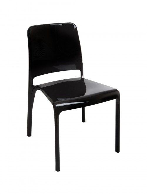 Clarity Designer Polycarbonate Chairs 6908 (Black/White) - 4 Pack