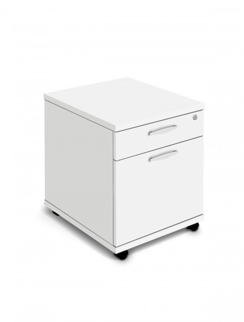 White Mobile Pedestal 2 Drawer Aspire Pedestal ET/MOBPED2/WH