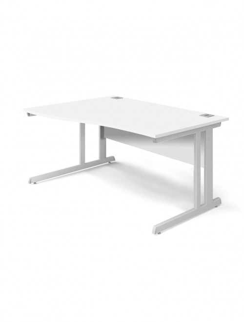 White Office Desk 1400mm Aspire Wave Desk ET/WV/1400/RL/WH