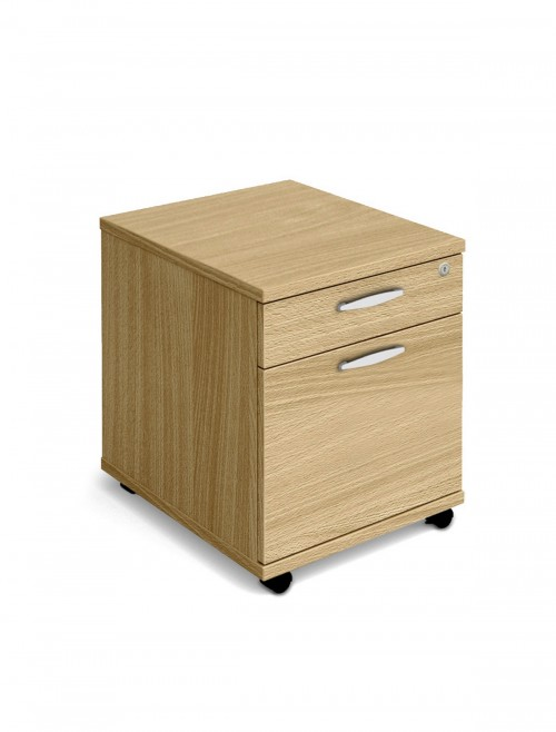 Oak Mobile Pedestal 2 Drawer Aspire Pedestal ET/MOBPED2/OK