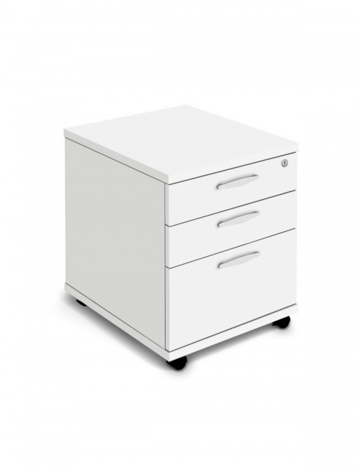 White Mobile Pedestal 3 Drawer Aspire Pedestal ET/MOBPED3/WH