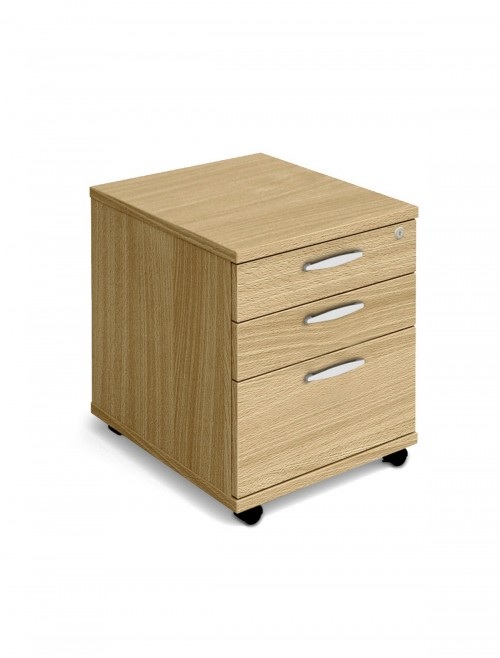 Oak Mobile Pedestal 3 Drawer Aspire Pedestal ET/MOBPED3/OK