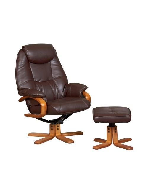 Atlanta Luxury Reclining Chair with Stool 6924 - Chocolate