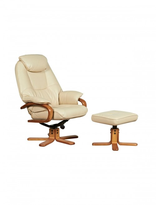 Atlanta Luxury Reclining Chair with Stool 6924 - Cream