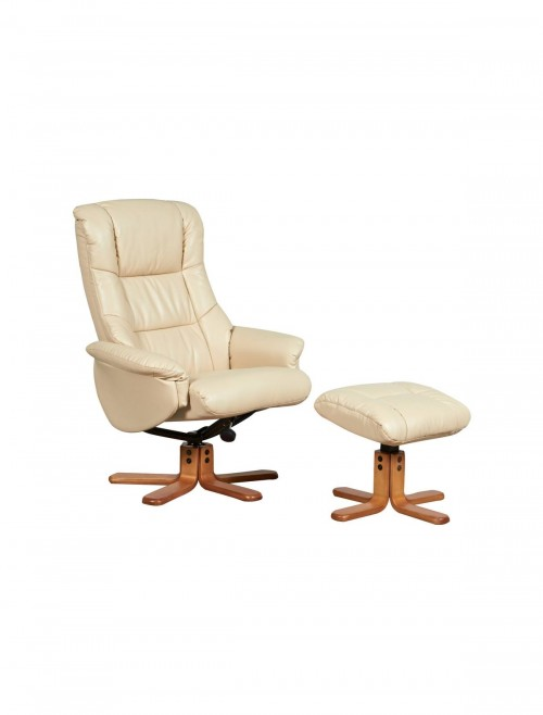 Chicago Luxury Reclining Chair with Stool 6922 - Cream