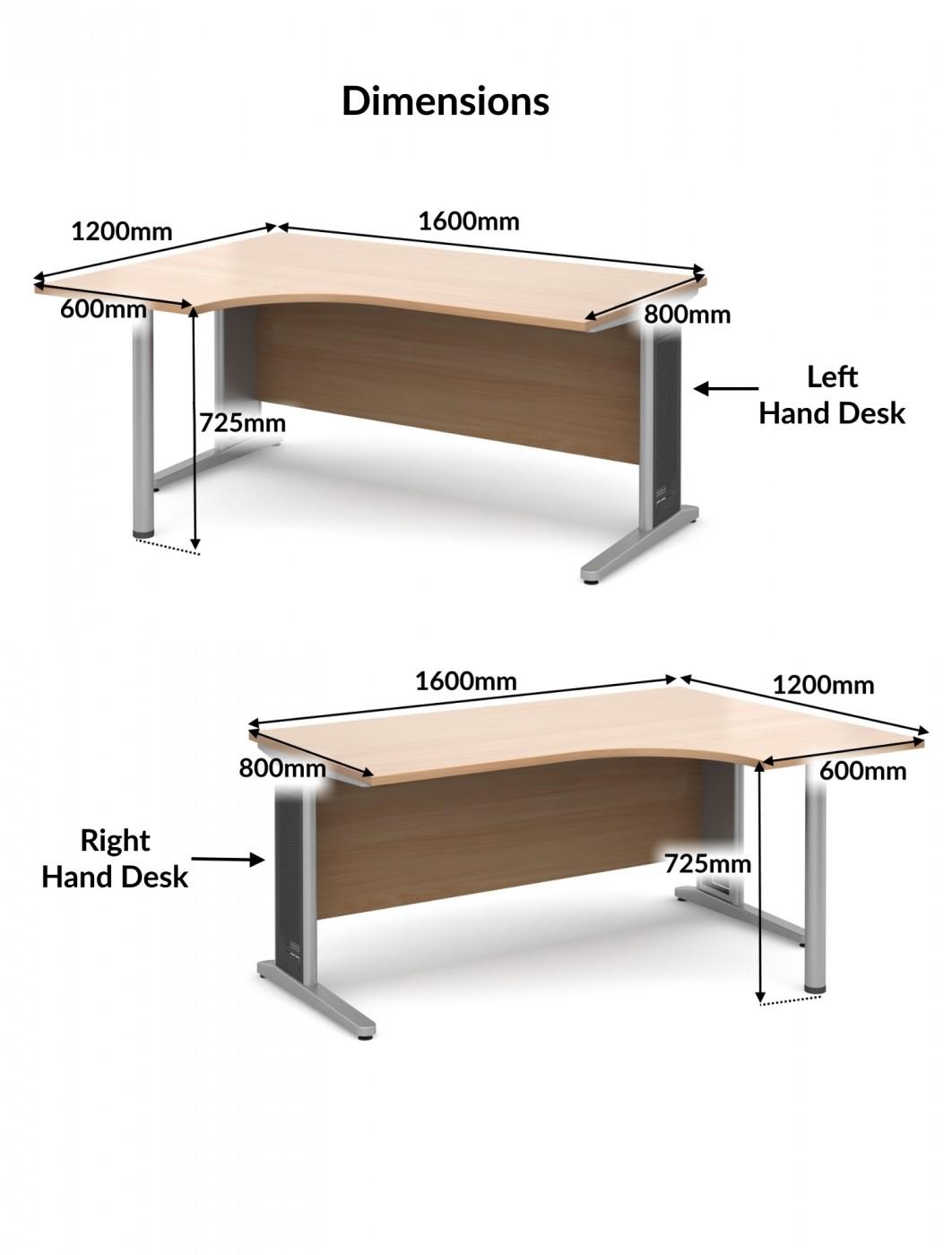 largo 1600mm wide ergonomic desk lel16 ler16 121 office